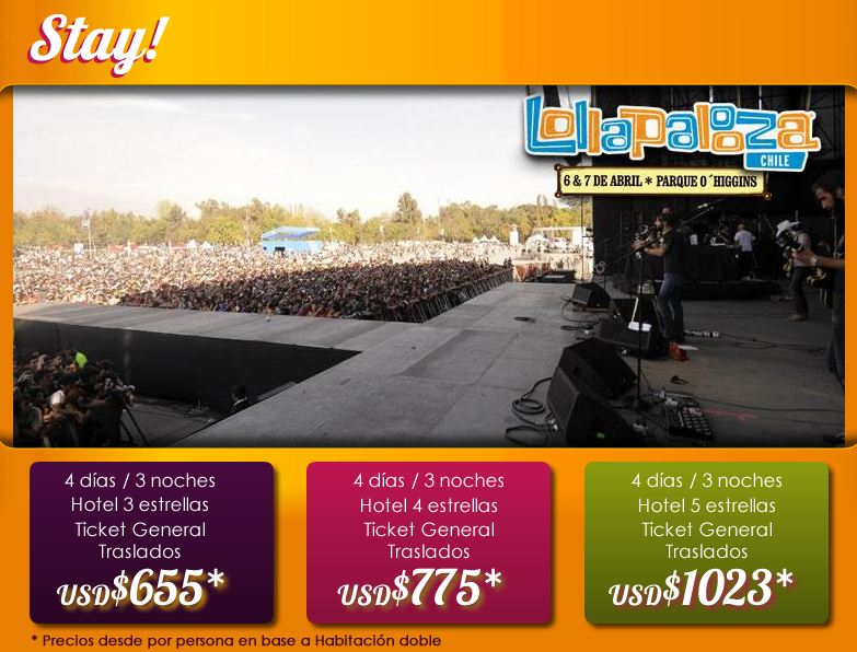 Lollapalooza 2013 Hostales de Chile Promociones Stay